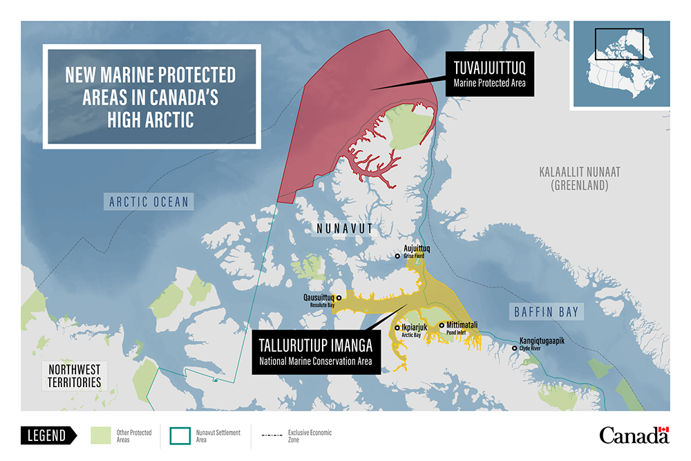 Map of two marine protected areas in Canada's High Arctic