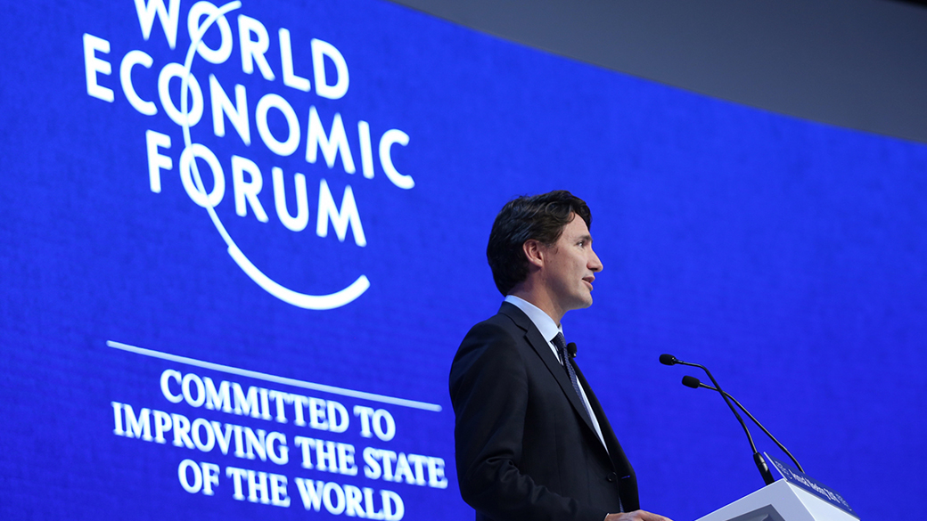 Prime Minister Justin Trudeau delivers remarks at the World Economic Forum Signature Session in Davos-Klosters, Switzerland.