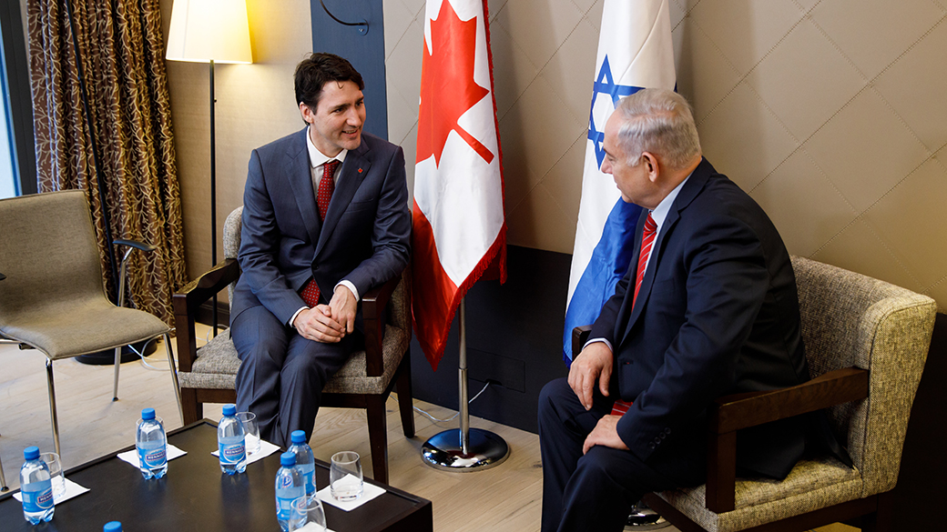 Prime Minister Justin Trudeau meets with Prime Minister Benjamin Netanyahu of Israel on the margins of the World Economic Forum annual meeting in Davos, Switzerland.