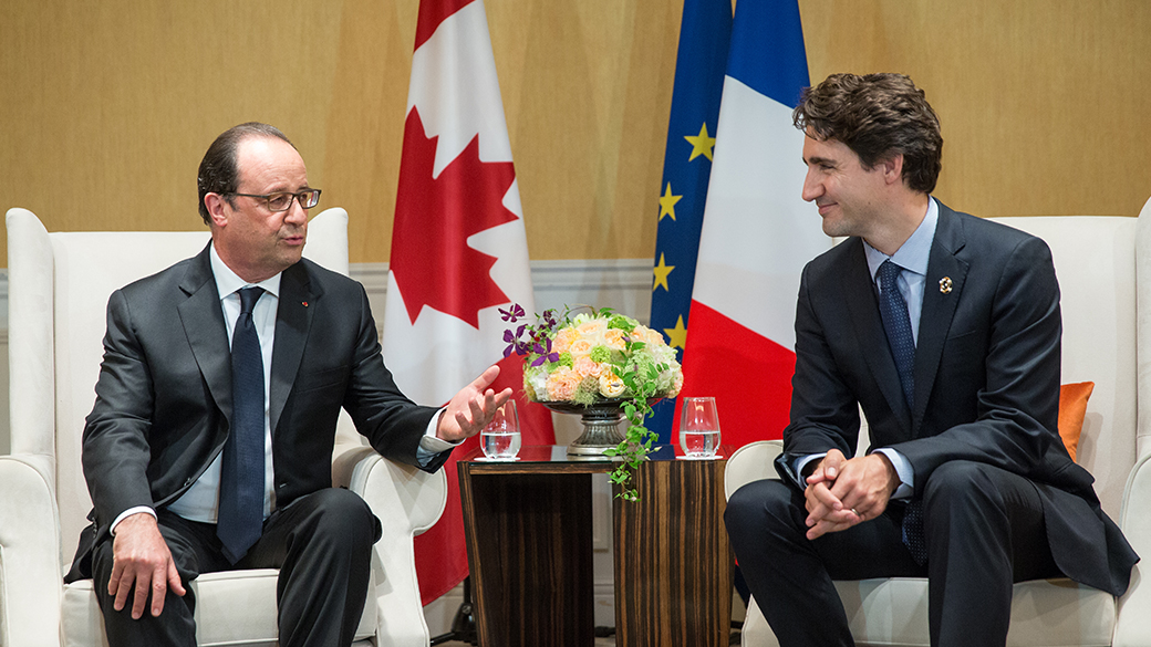 Prime Minister Justin Trudeau meets with French President François Hollande