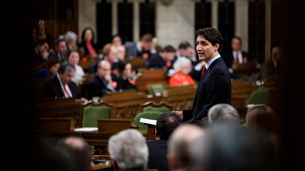 Prime Minister Justin Trudeau delivers remarks in the House of Commons.