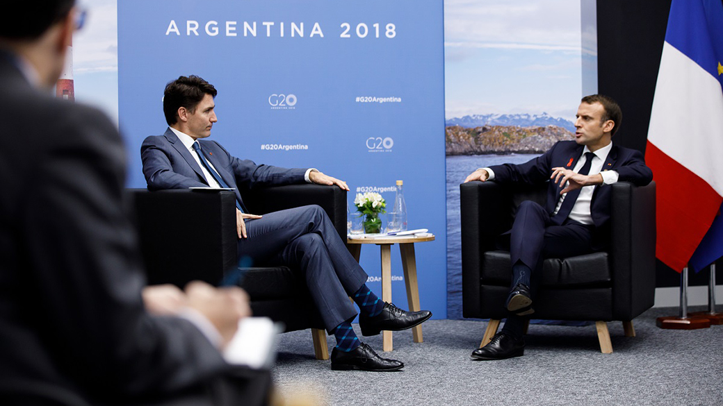 PM Trudeau meets with President Macron at the G20 in Argentina