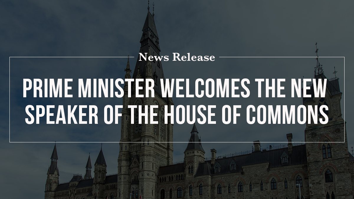 Prime Minister welcomes the new Speaker of the House of Commons
