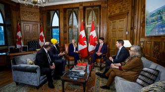 PM Trudeau meets with federal party leaders in his office
