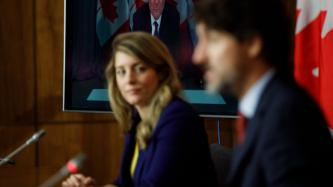 PM Trudeau and Minister Joly speak with media