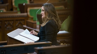 Deputy Prime Minister Chrystia Freeland stands at a podium with papers in the House of Commons