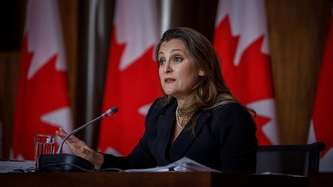 Deputy Prime Minister Chrystia Freeland sits at a microphone, a row of Canadian flags behind her